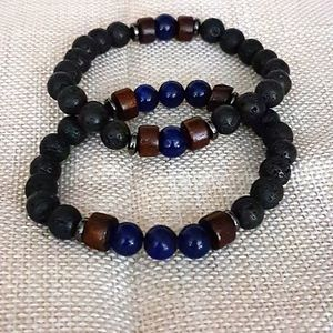 Lapis lazuli and Lava stone bracelet set